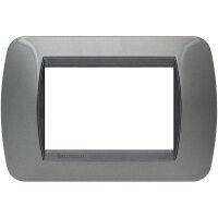 Living International - placca Metallic in metallo 3 posti acciaio scuro